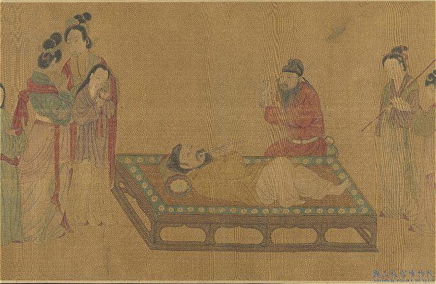 中國畫 床榻 君臣 弄簫圖