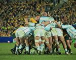 首場比賽現場,衛冕冠軍澳大利亞隊與南半球勁旅阿根廷隊(大紀元攝影記者彼得攝)