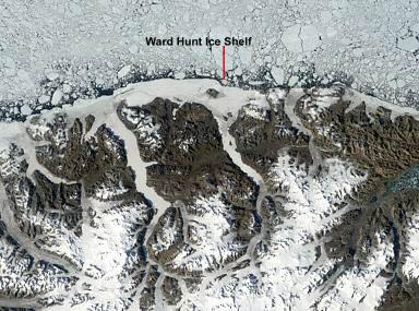 美國航天局23日拍攝的衛星圖片顯示沃德‧亨特冰灘已因氣候變遷而崩解(法新社)