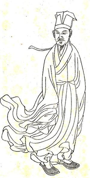 《晩笑堂竹莊畫傳》中的黃庭堅像。(公有領域)