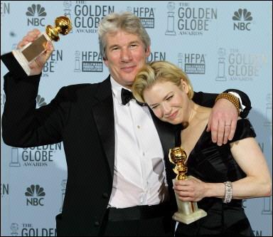 金球獎八項入圍的「芝加哥」獲得音樂或喜劇類最佳影片,李察吉爾與蕾妮齊薇格也雙雙勇奪音樂或喜劇類最佳男、女主角。//大紀元資料庫