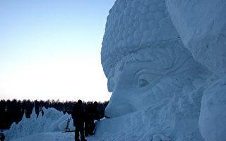 """世界最大单体雪雕""""圣诞老人""""在长春完工(大纪元)"""
