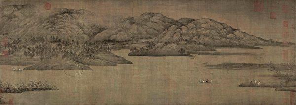 五代南唐董源瀟湘圖,藏於北京故宮博物院。(公有領域)