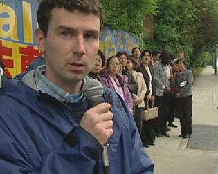列治文市居民Daniel Ferguson 先生发言,希望不同族裔的加拿大人都能站出来声援今天这样的活动(大纪元)