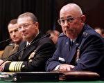 (由左至右)布什总统提名的海军参谋长佩斯(Peter Pace)、空军管理长纪巴司啼(Edmund Giambastiani Jr)和空军参谋长莫斯里(Michael Moseley)在参议院三军委员会的听证会上(Getty Images 2005-6-29)