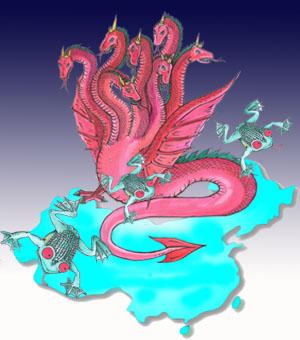 图为《圣经启示录》里红龙。它把它的权柄授给了这个兽,而这个兽就在人间控制人,让人来屈服它,崇拜它。大纪元资料图片。