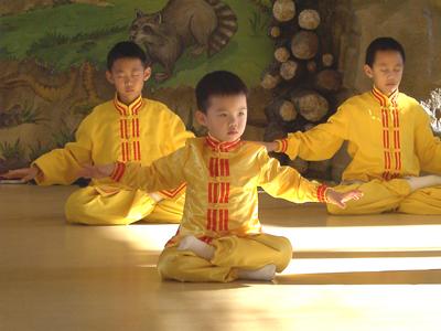 华府明慧学校学生在社区活动中演示法轮功。(大纪元记者薛槟摄影)