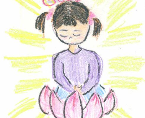 明慧学校学生的绘画(大纪元记者薛槟摄影)