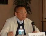 《中华评述》责任主编纪晓峰在洛杉矶第五次九评研讨会上发言。(大纪元记者袁玫摄)