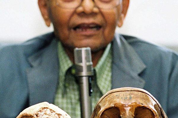 印尼再次发现小人下颌骨。图为04年11月5日,印尼日惹大学古人类学者积及教授展示一具小矮人的头骨(左),与右边的一具现代人的头骨作比较。(AFP)