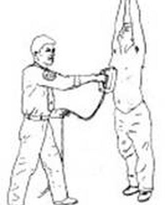 中国法轮功学员在劳教所遭受的酷刑之一──电击(图片提供:明慧网)