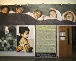 圖﹕多倫多人權組織展示的北韓儿童飢餓慘狀。(大紀元)