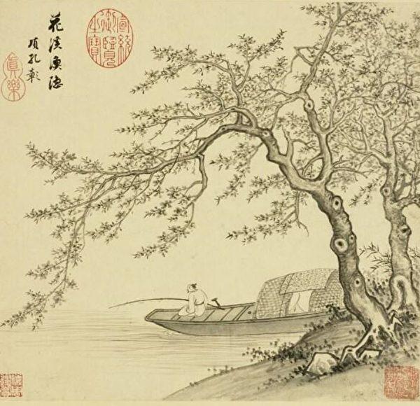 明 项圣谟《山水册.桃花钓船》。(公有领域)