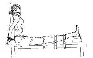 高智晟律師稱法輪功學員王玉環為「從老虎凳上走下來的聖賢」。圖為法輪功學員受老虎凳酷刑示意圖。明慧網資料圖片。