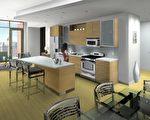 餐厅的空间安排巧妙﹐显得高大宽敞。 (由K. Hovnanian Homes提供。)