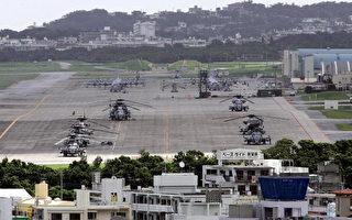 2005年6月22日。在日本普天間(Futenm)美國海軍陸戰隊基地上的直升飛機。(TORU YAMANAKA/AFP/Getty Images)