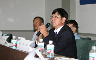 文革史论家、中国社会民主党主席刘国凯先生在洛杉矶文革研讨会上演讲。(大纪元图片)