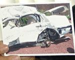 车子被毁的情形。(大纪元)60831221009628.jpg===1===周勇军认为张宏宝遭遇的车祸离奇蹊跷。(大纪元)