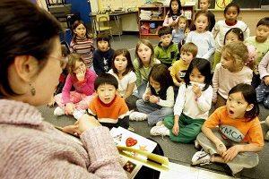 美國馬里蘭州波多馬克(Potomac)一所小學的中文課 (JIM WATSON/AFP/Getty Images 2005-11-18)
