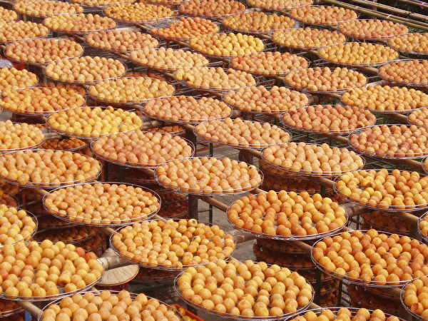 黃澄澄柿餅讓人垂涎欲滴。(林寶雲/大紀元)