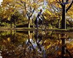 民众骑自行车经过公园湿地。(Photo by Jeff J Mitchell/Getty Images)