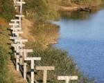 为防止朝鲜民众出逃,金正恩最近下令要求有关部门在朝中边境设置无人地面监视感应器。图为中朝边界 ( Cancan Chu/Getty Images)
