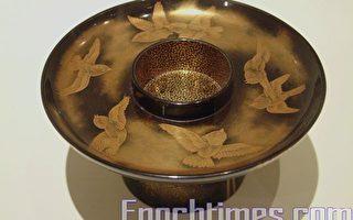 蒔繪「天目碗」托盤,高3.5~5.5公分,直徑11.5~15公分。(記者白亞仕攝影∕大紀元)