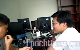 嘉义市天文协会与与新疆连线直播日全蚀,测试成功将直播影像传回台湾。(嘉义市天文协会提供 )