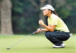 台湾女将卢晓晴昨天在西北阿肯色女子高球锦标赛首轮挥出66杆佳绩,并列领先。(法新社)
