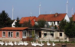 """2007年在德国东部Dardesheim,这拥有1,000个住屋的村庄有""""能源花园""""的美称,经营者矢志将再生能源推至邻近Schoeningen村的Buschhaus褐煤发电厂,以风力、太阳能及生质物等设备取而代之。屋顶上看到的是风车,用来产生再生能源的装置。(BARBARA SAX/AFP/Getty Images)"""