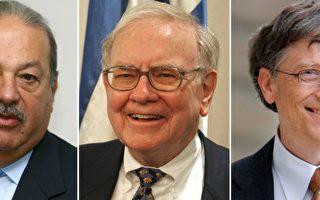 """《福布斯》公布2008年全球富豪排行榜,""""股神""""巴菲特(Warren Buffett)(中)摘冠,墨西哥电信钜子卡洛斯.斯林姆.希鲁(Carlos Slim Helu)(左)也跃居第二,微软创办人比尔.盖兹(Bill Gates)(右)则失去维持了13年的宝座,跌至第三。(AFP)"""