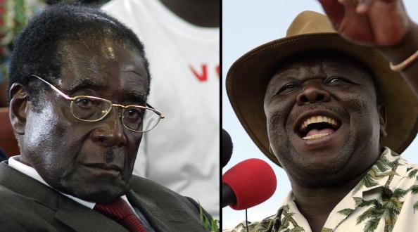 津巴布韋現任總統穆加貝(左)與反對派領導人茨萬吉拉伊。(右)(ALEXANDER JOE/AFP/Getty Images)