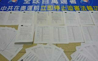 全球47.4万人联署 吁停止迫害法轮功