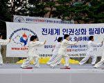 來自浦項雲波太極拳俱樂部的8名會員在當天的集會上進行了太極拳表演(攝影:金國煥/大紀元)