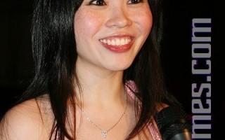 来自多伦多的选手、马来西亚籍吴盈盈接受采访。(摄影:文忠/大纪元)