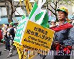 11月6日走上街头抗议中共的台湾民众。(大纪元)