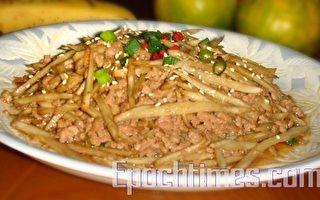 采秀私房菜:绞肉牛蒡丝