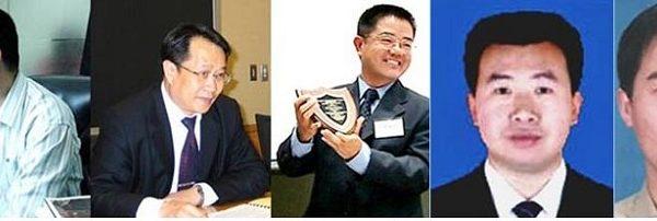 部分为法轮功学员无罪辩护的律师(左起):李苏滨、莫少平、郭国汀、江天勇、李和平。