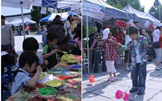 """体验传统文化,制作韩国面具(左图)、玩儿中国""""空竹""""。( 韩国国立民俗博物馆提供)"""