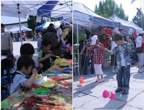 體驗傳統文化,製作韓國面具(左圖)、玩兒中國「空竹」。( 韓國國立民俗博物館提供)