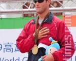 滑水男子组赤足花式金牌选手美国凯斯‧圣欧吉(KEITH ST.ONGE)。 (摄影:苏玉芬/大纪元)