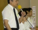 台灣法輪大法學會會長張清溪(左)與遣返案原告朱婉琪、張震宇、盧麗卿(由左至右)9月7日出席記者會。(攝影:王仁駿/大紀元)