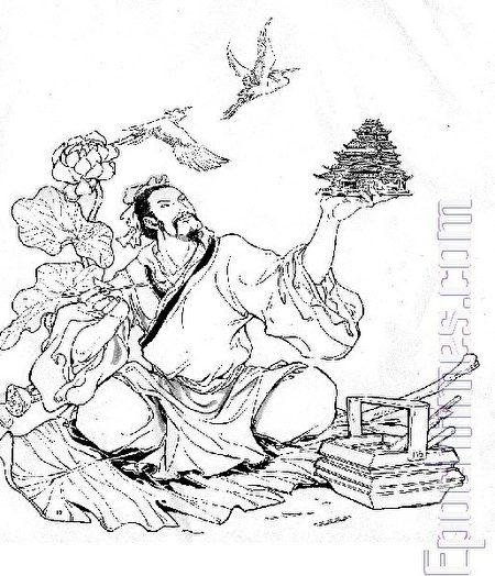 魯班仙師像(繪畫:大雄)