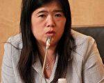 中国冤民大同盟主席沈婷女士,于9月16日晚七点三十分,在美国华府出席《中共窃国六十年系列》研讨会。(摄影:奚明/大纪元)