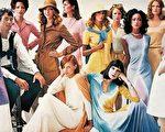 """豪斯顿被包围模特儿中间。她们身上穿着他的经典设计—""""流线型洋装""""。这张照片刊登在1972年的美国 版《Vogue》杂志。(原点出版社提供)"""