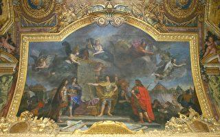 凡爾賽宮鏡廊天頂壁畫:國王下令同時攻擊荷蘭最強大地方中的四個。中間身披鎧甲戰袍者為醉心於戰爭藝術和文化藝術的太陽王路易十四。(攝影:章樂/大紀元)