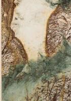 赤玉玫瑰原石切片画:黄山翠松vs.巴黎贵妇(瑰宝轩  花东玉石玫瑰石社区博物馆收藏 / 大纪元)