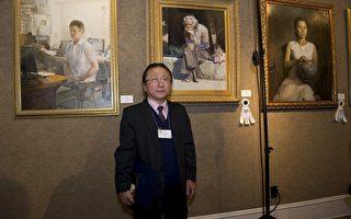 杨育儒说﹐自己意识到了作为画家的责任和使命。(摄影﹕戴兵/大纪元)