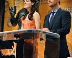 好莱坞影星米歇尔·莫汉那(Michelle Monaghan)与克里斯·奥唐纳(Chris O'$$$Donnell)共同宣布提名名单。(图/Getty Images)