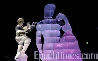 波士顿第一夜展出的冰雕 - 麦克安吉洛的大卫。(徐明 / 大纪元)